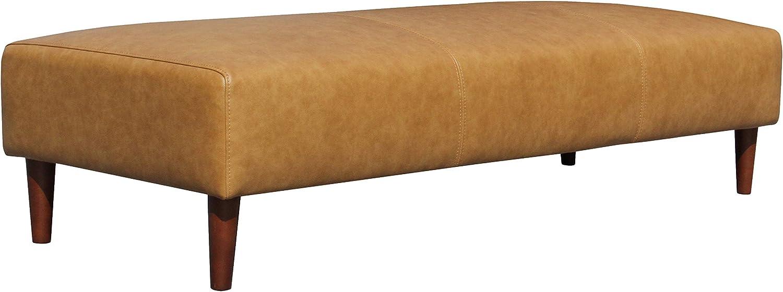 "Rivet Ava Mid-Century Modern Leather Ottoman Bench, 63.4""W, Caramel"