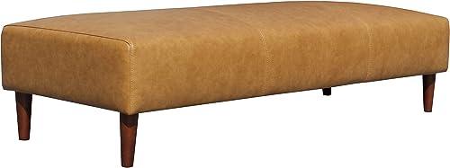 Amazon Brand Rivet Ava Mid-Century Modern Leather Ottoman Bench, 63.4 W, Caramel