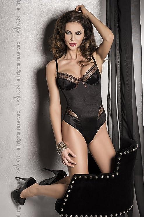 Passion Evane - Body lencero para mujer con aplicaciones de encaje, sujetador de aro, color negro, talla XXL/XXXL: Amazon.es: Salud y cuidado personal