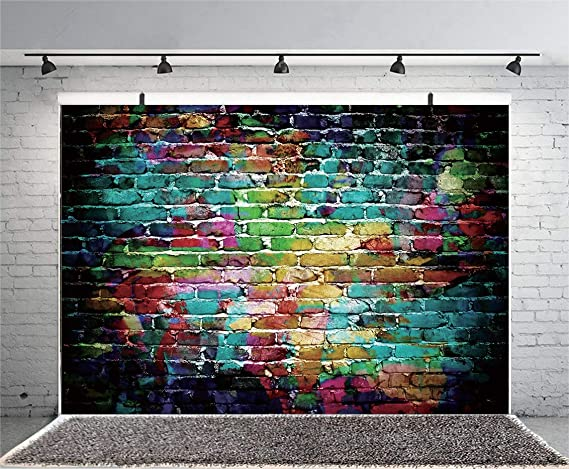 9x6ft Happy Birthday Backdrop Brick Wall Polyester Photography Background Colorful Balloon Flower Banner Children Baby Kids Party Decor Portrait Shoot Photo Props Studio Wallpaper