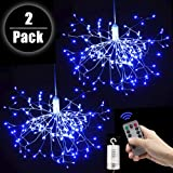 FOOING 2 Pack 150 LED Copper Wire Firework Lights Battery Operated Fairy Lights with Remote,8 Modes Starburst Lights Waterproof,Christmas Decorative Hanging Lights for Party Patio Bedroom