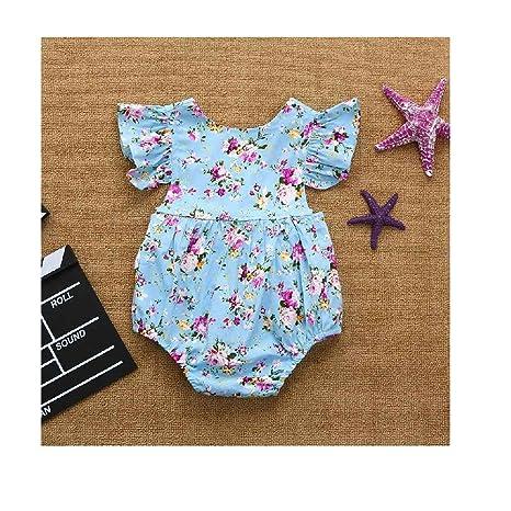 MOVEmen Mono de verano para bebé niña con volantes florales, mono ...
