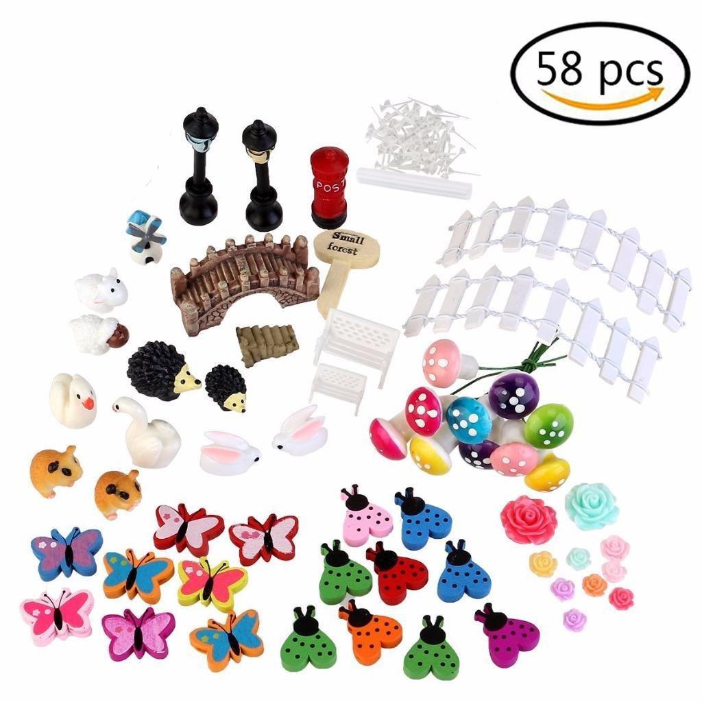 BraveWind 58 PCS Miniature Ornaments Set Fairy Garden Butterflies Mini Doll House Decoration for DIY Fairy Garden Dollhouse Decor Surging B Waves