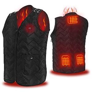 COZIHOMA USB Electric Heated Vest Fleece 2019 Upgrade Carbon Fiber Washable Size Adjustable Charging Heating Vest Clothing for Winter Skiing Hiking Motorcycle Travel Fishing Golf