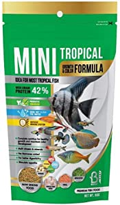 A.D.P. FISH BOOSTER Tropical Fish Food Mini Slow Sinking Flakes Pellets Grow Faster & Color Enhancing High Protein 42% for Goldfish & All Aquarium Tropical Fish 60g. Small Fish Feed Breeding Fish Care