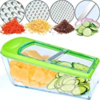 LHS Mandoline Slicer, 4 Sharp Stainless Steel Blades with Food Storage Container — Kitchen Tools for Cheese, Chocolate…