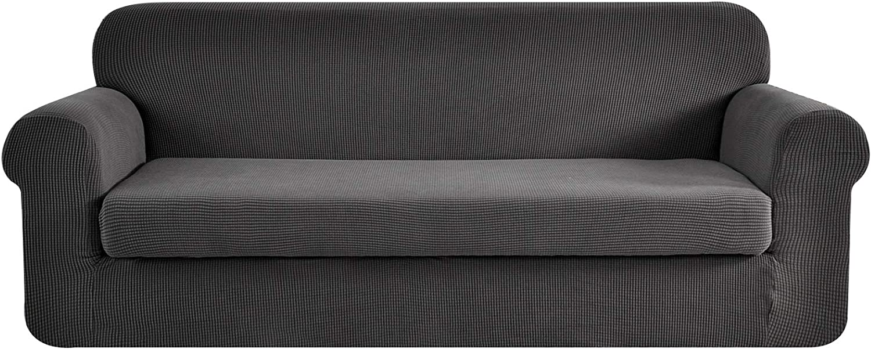 E EBETA Tunez Funda sofá Duplex, Funda de sofá, Tejido Jacquard de poliéster y Elastano, Funda de Clic-clac elástica Cubiertas de sofá de 3 Plaza (Gris Oscuro, 185-235 cm)