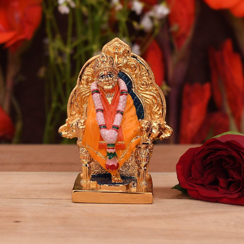 CraftVatika Gold Plated Lord Sai Baba Statue Car Dashboard Décor - Saibaba Idol Murti Showpiece for Home Pooja Temple Mandir Room Decoration (Size 3.5 x 2.5 Inches)
