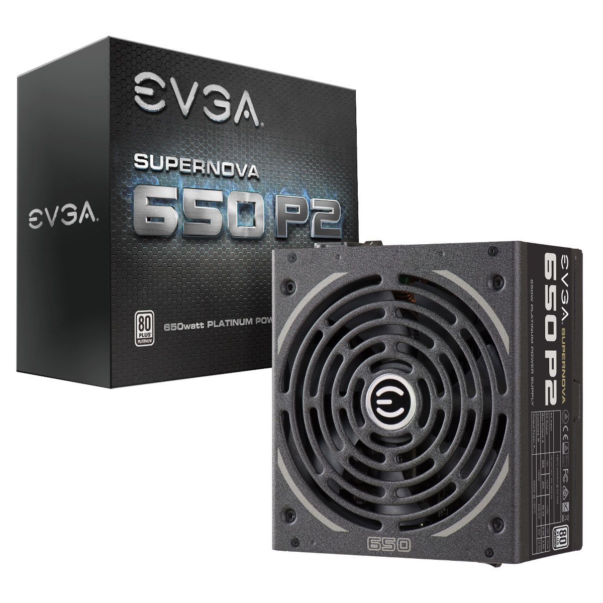 EVGA SuperNOVA 650 P2, 80+ PLATINUM 650W , Fully Modular , EVGA ECO Mode, 10 Year Warranty , Includes FREE Power On Self Tester, Power Supply 220-P2-0650-X1