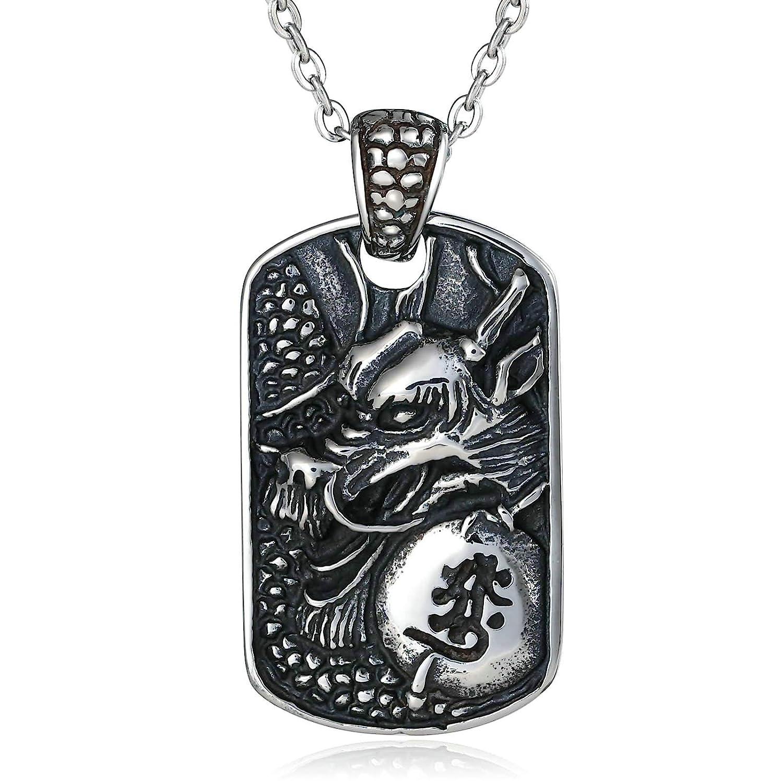 Epinki Stainless Steel Necklace for Men Silver Dog Tag Dragon Pattern Necklace Vintage Gothic Biker Punk Rock Necklace