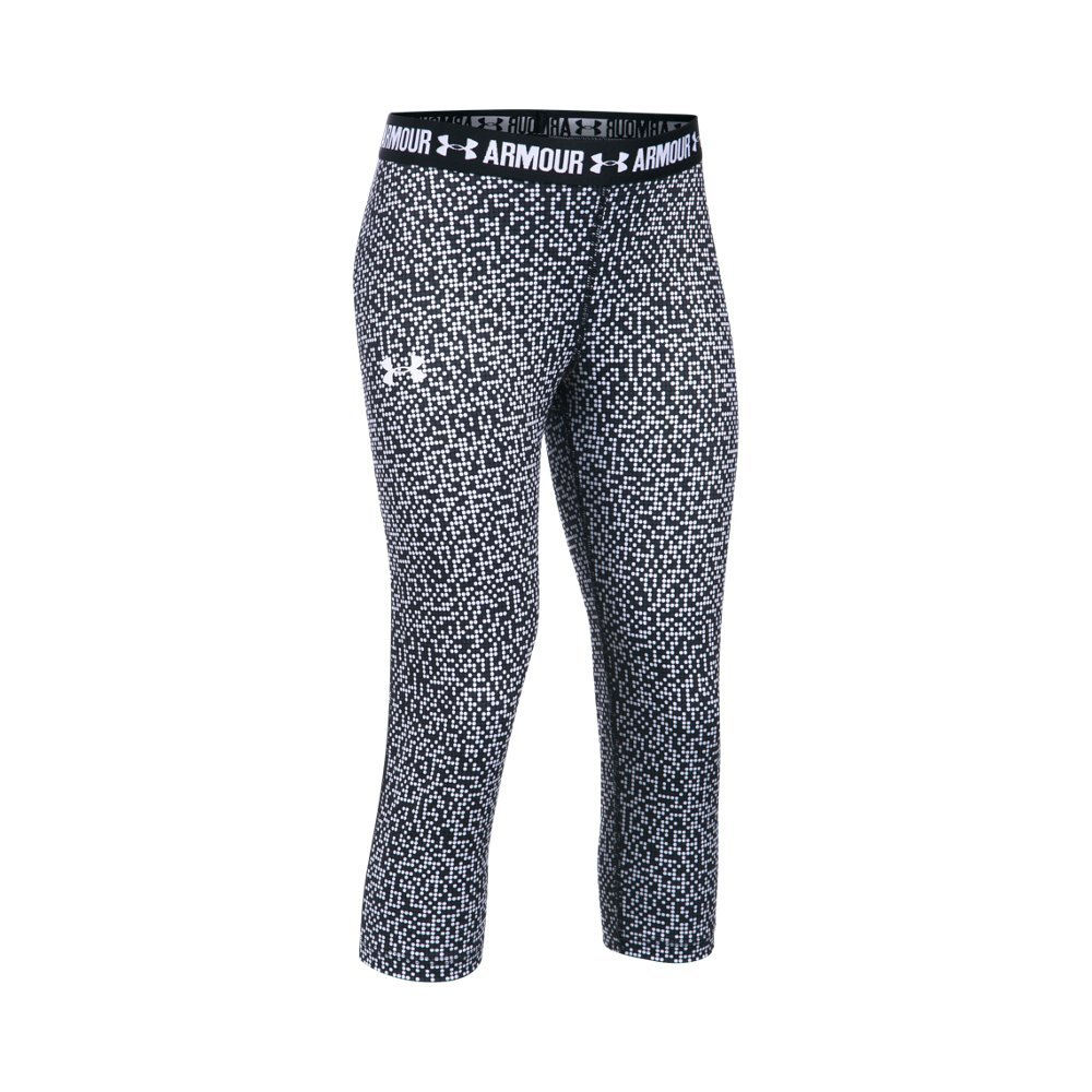 Under Armour Girl's HeatGear Armour Printed Capris, White (100)/White, Youth X-Small
