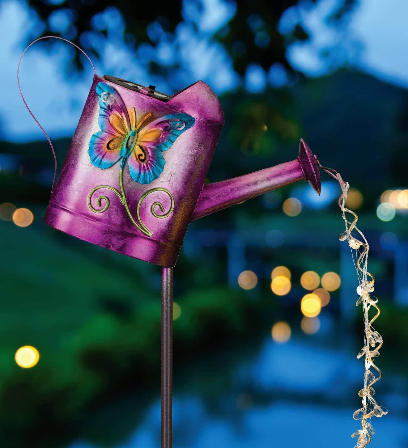 Regal Art & Gift Solar Watering Can Stake Butterfly Outdoor Dcor ...