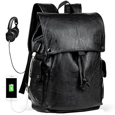 b60106f58c0f Men s Backpack with USB Leather Waterproof Backpack School College Bookbag  Laptop Computer Backpack Leather Travel Bag Extra Capacity Casual Vintage  ...