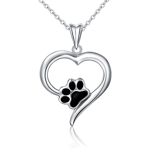 SILVER MOUNTAIN 925 Sterling Silver Forever Love Heart Puppy Paw Pendant Necklace for Women, Rolo Chain 18""