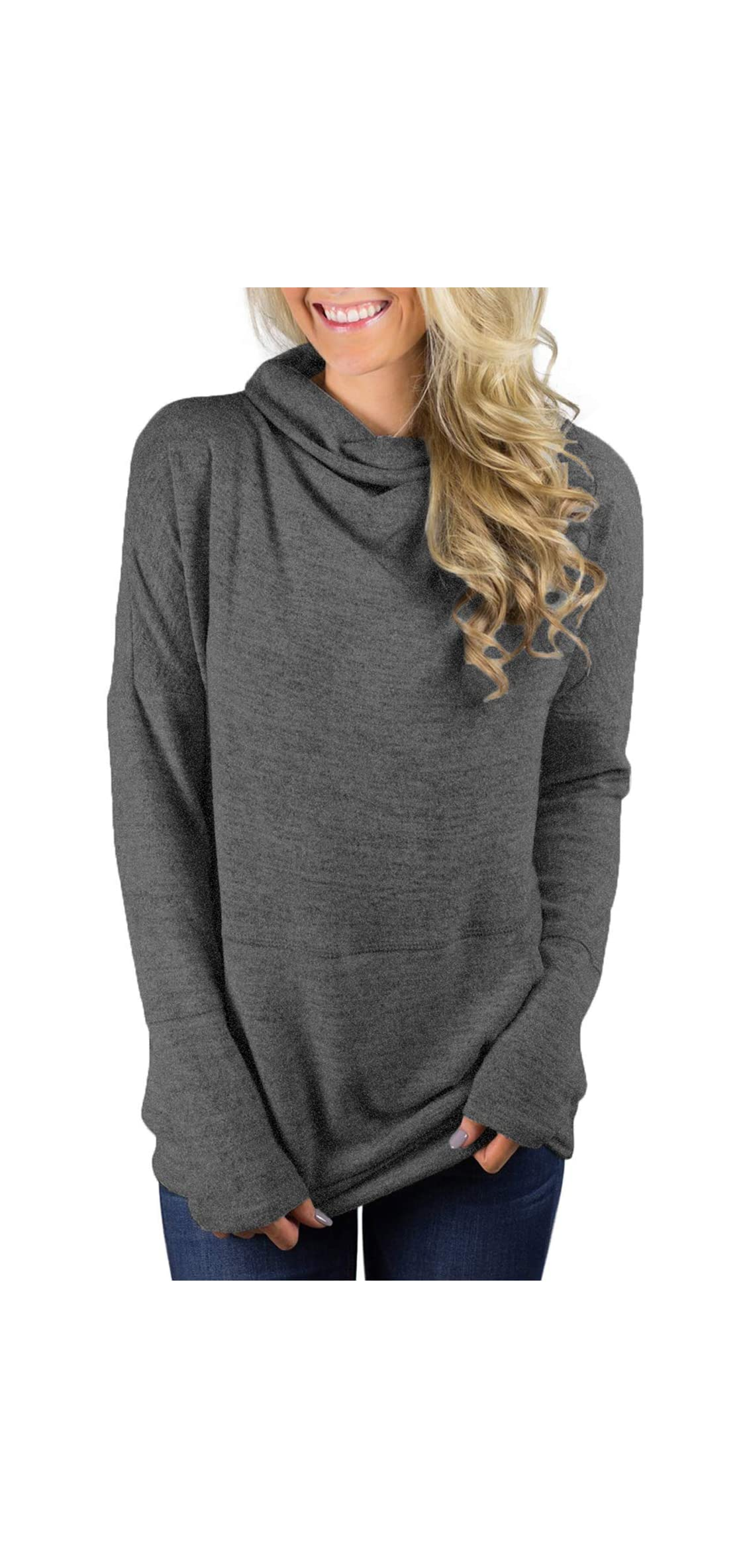 Womens Casual Long Sleeve Cozy High Neck Solid With