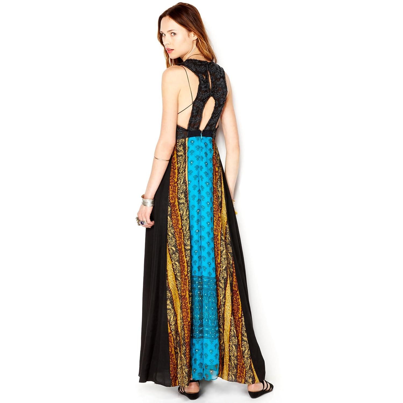 Free People Women\'s v-Neck Graphic Sleeveless Long Maxi Dress, Ocean ...