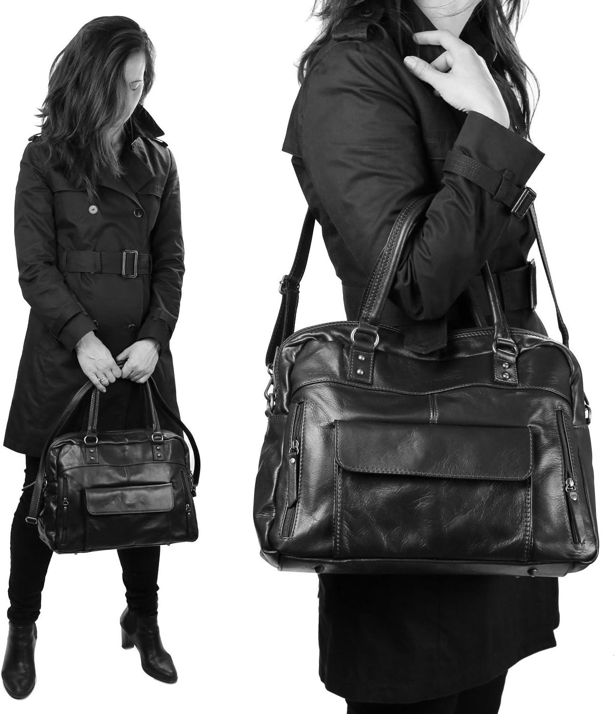 Olivia Epaule modele So-BIZNES 38X28 CM Noir Sac /à Main Femme Cuir Porte Main Cuir Sac en Cuir De Vachette