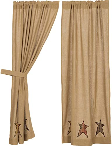 VHC Brands Stratton Burlap Applique Star Short Panel Set of 2 63×36 Country Curtains