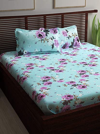 Story @ Home Candy 120 TC Cotton Double Bedsheet and 2 Pillow Covers - Queen, Yellow