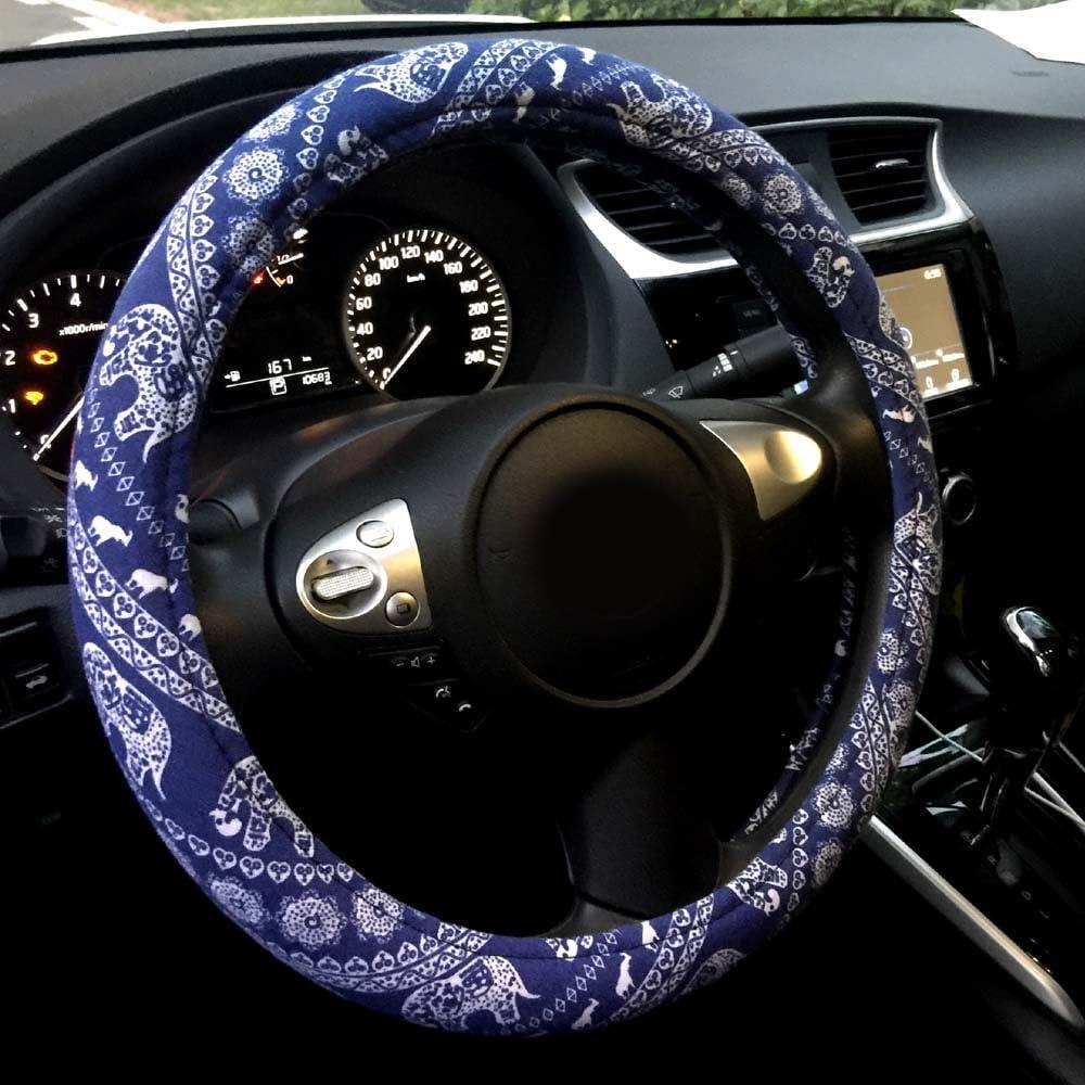 Mayco Bell Automotive Ethnic Flachs Tuch Cute Elephant Universal Auto Lenkradbezug