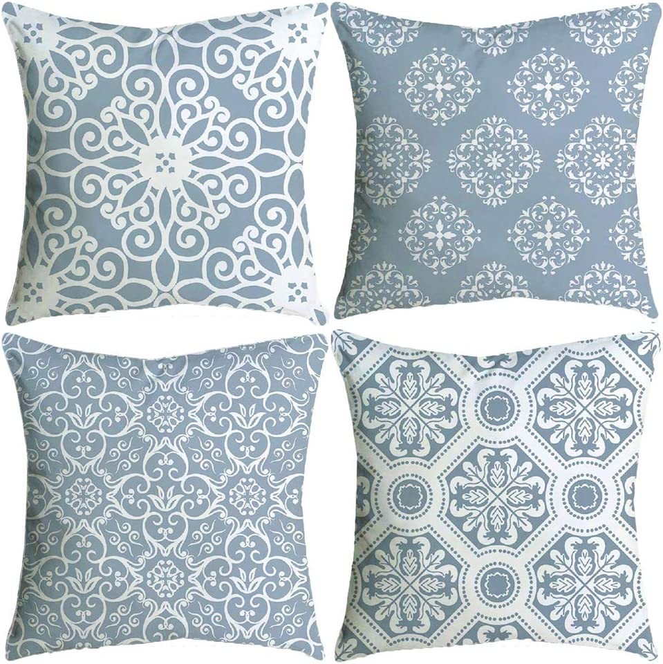 Bckakqa Throw Pillow Covers Set Of 4 Blue Grey Vintage Mandala Cushion Covers 60cm X 60cm Soft Polyester Square Decorative Throw Pillow Case For Living Room Sofa Couch Bed Pillowcases 24 X 24 Inch Amazon Co Uk Kitchen Home