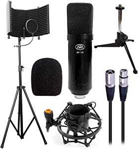 AxcessAbles SF-101KIT Studio Microphone Isolation Shield w/Stand, Condenser Mic & accessories. Compatible w/Focusrite or Phantom Powered Audio Interfaces or mixers. Studio Recording & Broadcast.