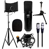 AxcessAbles SF-101KIT Studio Microphone Isolation Shield w/Stand, Condenser Mic & accessories. Compatible w/Focusrite or…