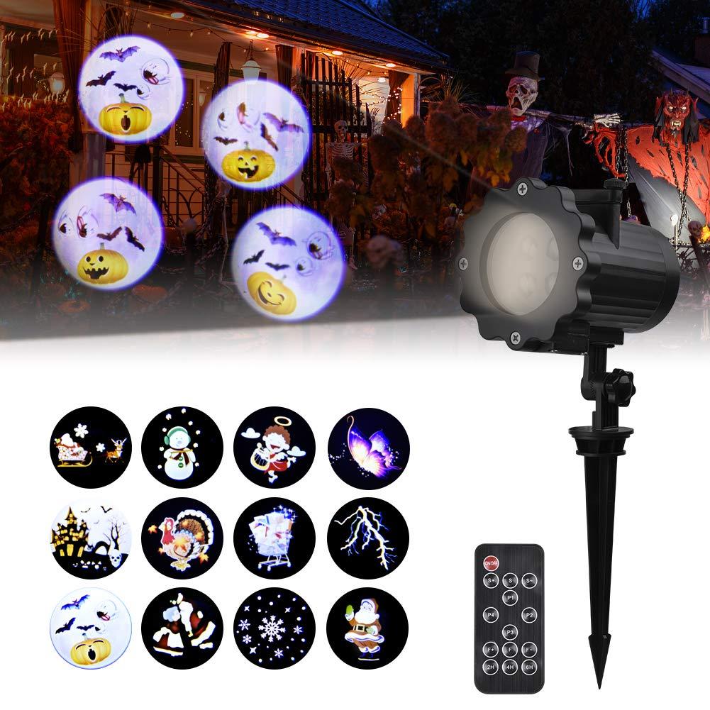 Led Projektionslampe, Dynamisch Led Projektor mit 12 Motiven, Wasserdicht IP65 Weihnachtsbeleuchtung für Halloween, Karneval, Festen und Dekoration [Energieklasse A++] Viugreum