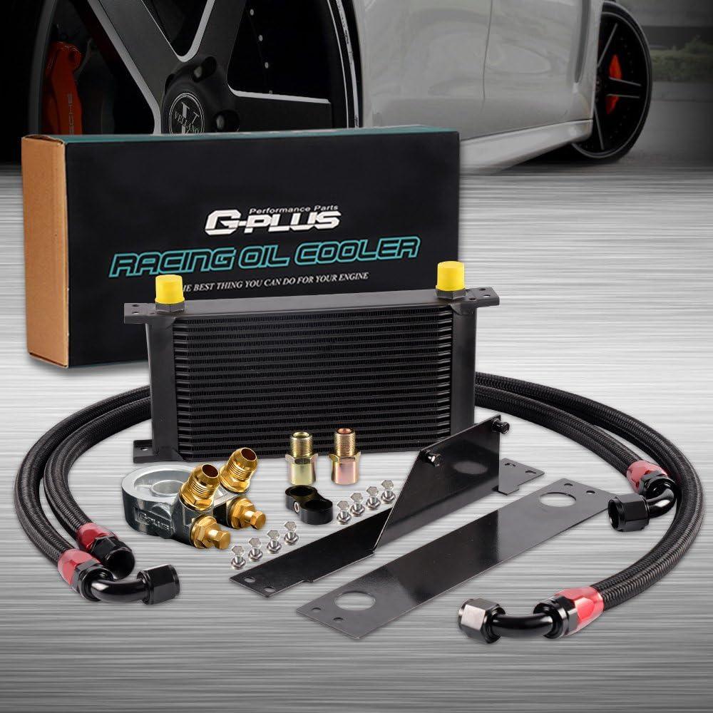 19 Row AN10-10AN Aluminum Transmission Engine Oil Cooler Thermostat Kit For Subaru Impreza WRX STi 2001 2002 2003 2004 2005