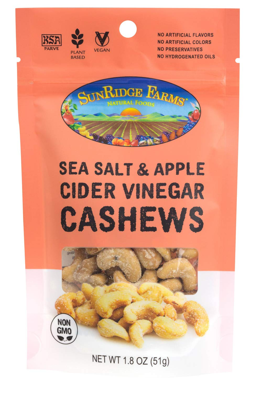 SunRidge Farms EnergyGo - Sea Salt & Apple Cider Vinegar Cashews NonGMO Verified, 1.8 Ounce Bag (Pack of 8)