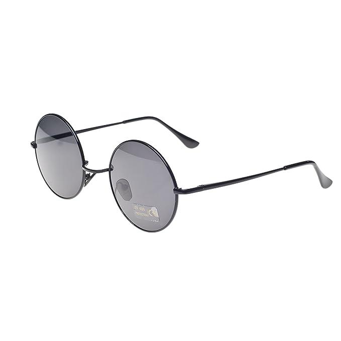 a693f0d34988 Round Lennon Glasses Steampunk Sunglasses 50s Cyber Goggles Vintage Retro  Style Hippy Ganja Weed Leaf (Black) MFAZ Morefaz Ltd  Amazon.co.uk  Clothing