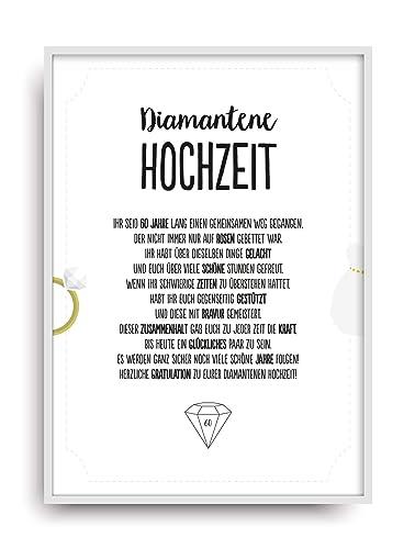 Geschenk Karte Diamantene Hochzeit Kunstdruck 60