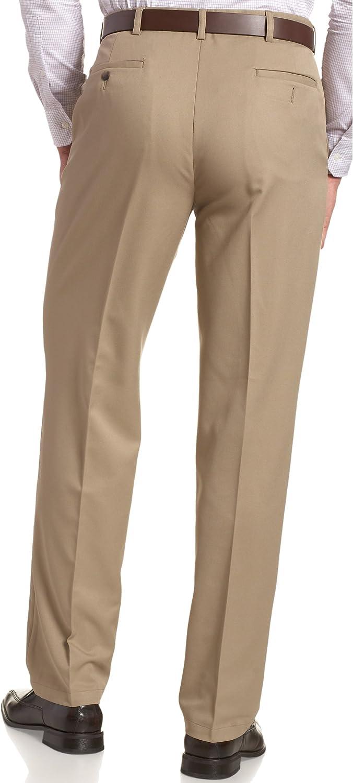 Haggar Men's Cool 18 Hidden Expandable-Waist Plain-Front Pant, Classic Fit at  Men's Clothing store: Dress Pants
