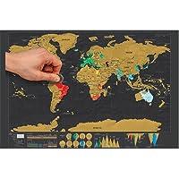 Creative Kazınabilir Dünya Haritası Poster Siyah Lüks Sürümü Kişiselleştirilmiş Seyahat Tatil Günlüğü
