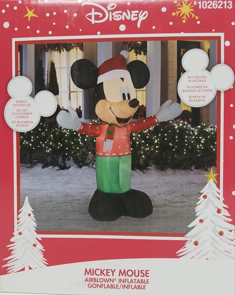 Gemmy Disney 6 Lighted Mickey Mouse Christmas Airblown Inflatable