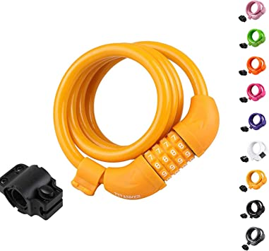 Bike Locks Cable 4 Feet Coiled Secure Resettable Combination Mounting Bracket