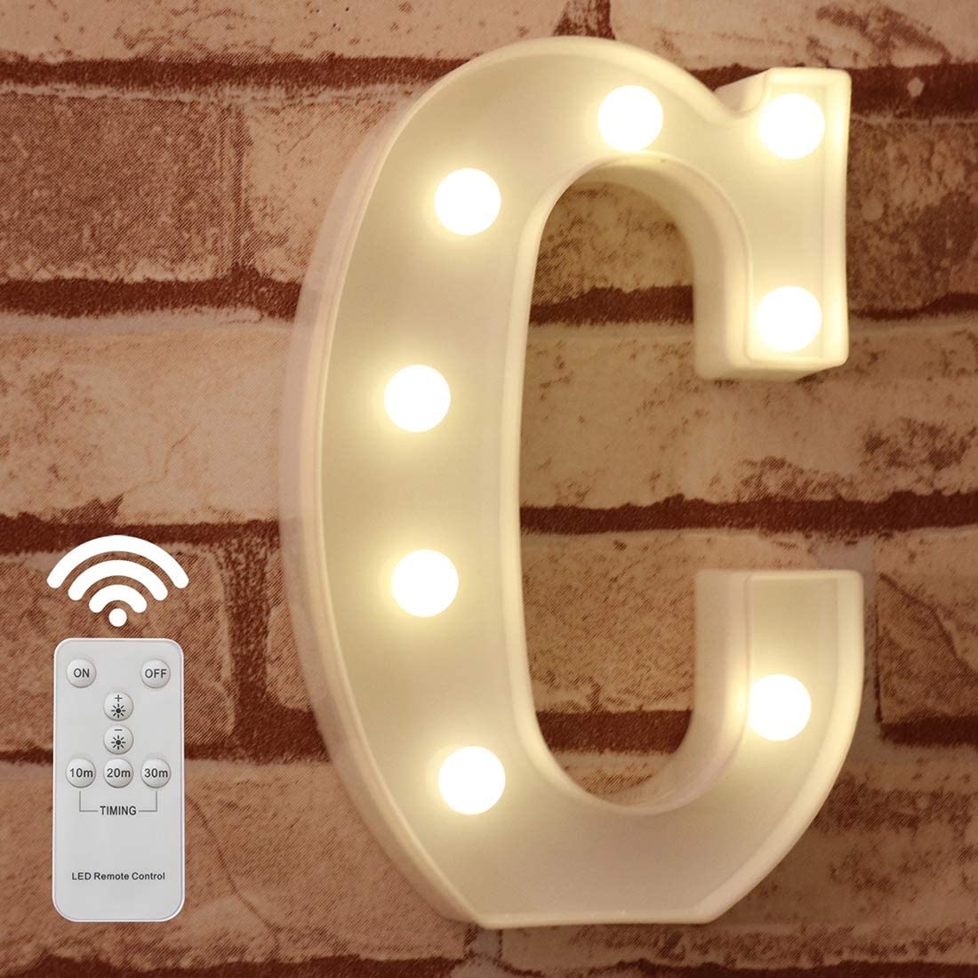 Pooqla LED Marquee Letter Lights Alphabet Light Up Sign with Wireless Timer Remote Control Dimmable for Wedding Home Party Bar Decoration - RC - C