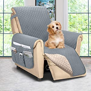 ASHLEYRIVER Reversible Recliner Chair Cover, Seat Width Up to 25 Inch Patent Pending,Recliner Covers for Dogs,Recliner Slipcover,(Recliner Medium::Light Grey/Beige)
