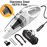Vacplus DC 12 Volt Portable Handheld Vacuum Cleaner for Car of 5.0 Kpa Suction with LED Light, Stainless Steel Hepa Filter, 16.4ft Cable for Wet and Dry Use – White
