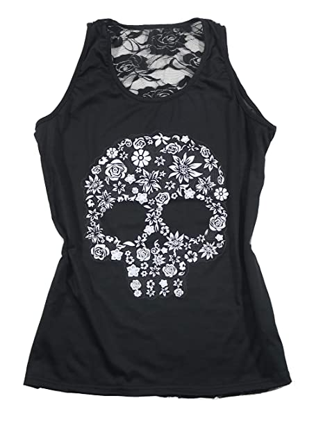 f50fb4f16ddb4 Amazon.com  DUTUT Sexy Floral Skull Halloween Tank Tops Womens Back Lace  Patchwork Sleeveless Shirt Tops T Shirt  Clothing