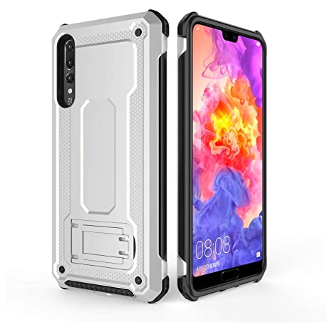 cheap for discount 1de98 eb73e Cubix Tough Armor Back Cover Case for Huawei P20 Pro (Silver) Inbuilt  Mobile Stand Military-Grade Drop Tested Shock Proof Slim Defender
