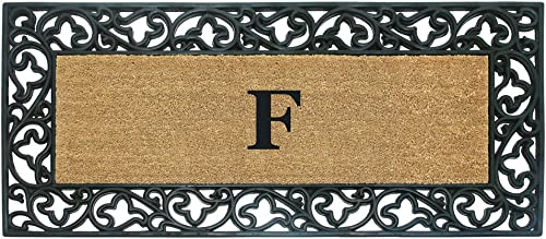Nedia Home Acanthus Border with Rubber Coir Doormat, 24 by 57-Inch, Monogrammed F