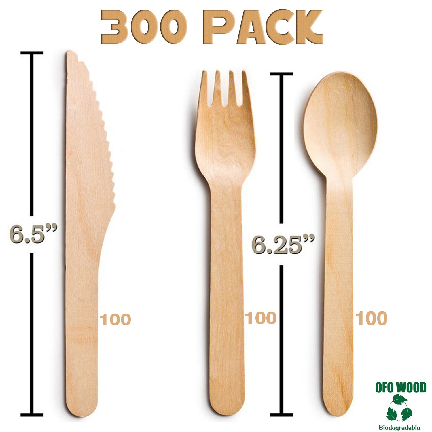 Wood set cutlery biodegradable-disposable-eco friendly-100 wooden forks-100 knives-100 spoons-For Parties, Picnics, Events & Weddings – Durable & Environmentally Safe by OFO WOOD (Image #1)