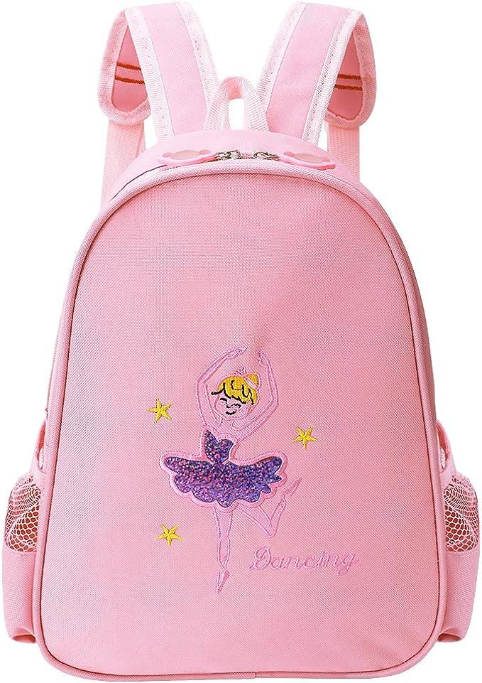 GLOGLOW Girls Dance Bag Pink Long Gauze Cute Ballet Dance Backpack Children Ballet Dancing Satin Backpack Tutu Dress Dance Bag Kids Ballet Sequined Dance Shoulder Bag with Pink Lace
