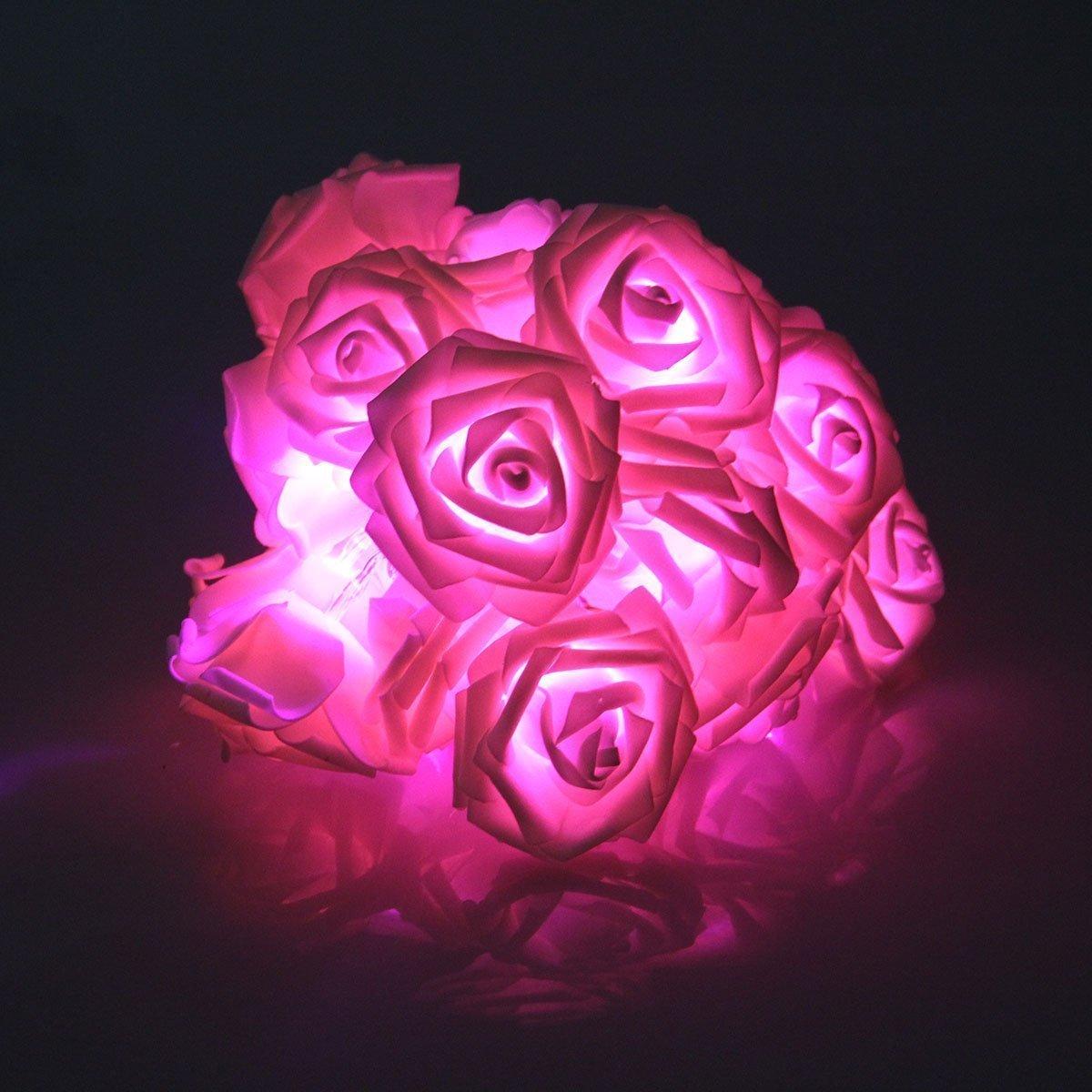Batteriebetriebene Lichterkette mit 20LEDs in Rosenform, Blumen-Lichterkette für Hochzeiten, Gartenpartys oder Weihnachten rose Bluelans