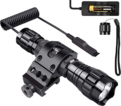 Tactical Flashlight Mount, CVLIFE Water Resistant Led Rifle Light Hunting Picatinny Rail Flashlight with Rechargeable 18650 Battery and Remote Pressure Switch for Outdoor Camping, Hiking