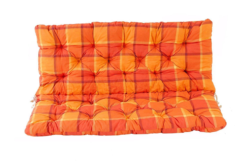Ambientehome 2er Bank Sitzkissen und Rü ckenkissen Hanko, kariert orange, ca 120 x 98 x 8 cm, Bankauflage, Polsterauflage Sparmeile 90632