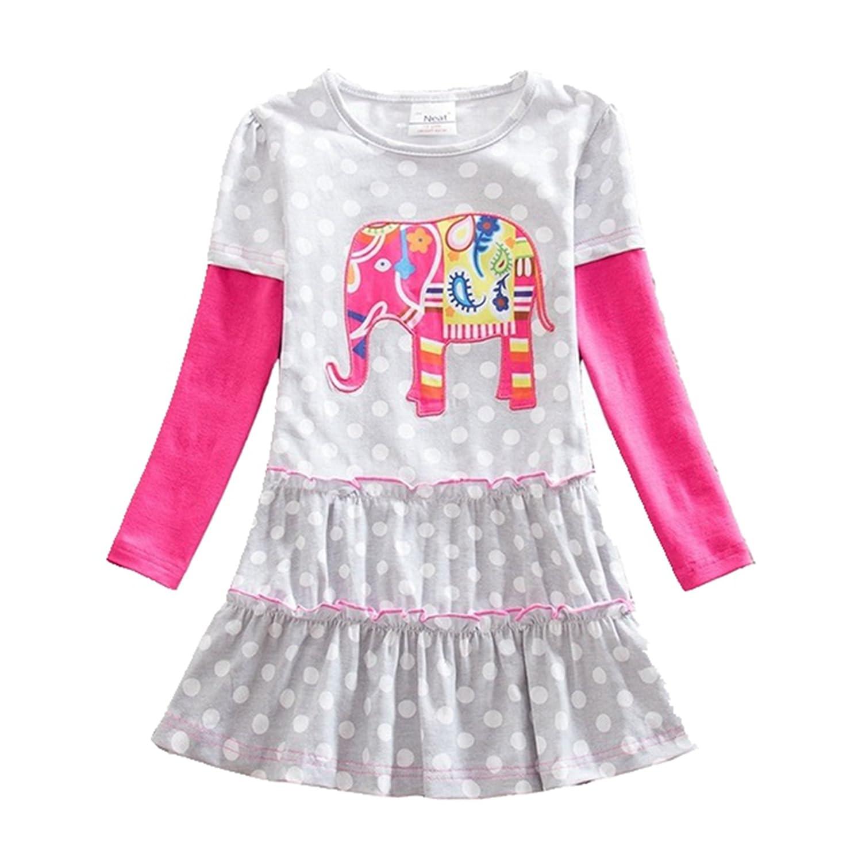 JXS Neat Kids Toddler Elephantコットンベビーガールズ長袖ドレスlh605 for 3年 – 8年 5T グレー B078JJD7BR