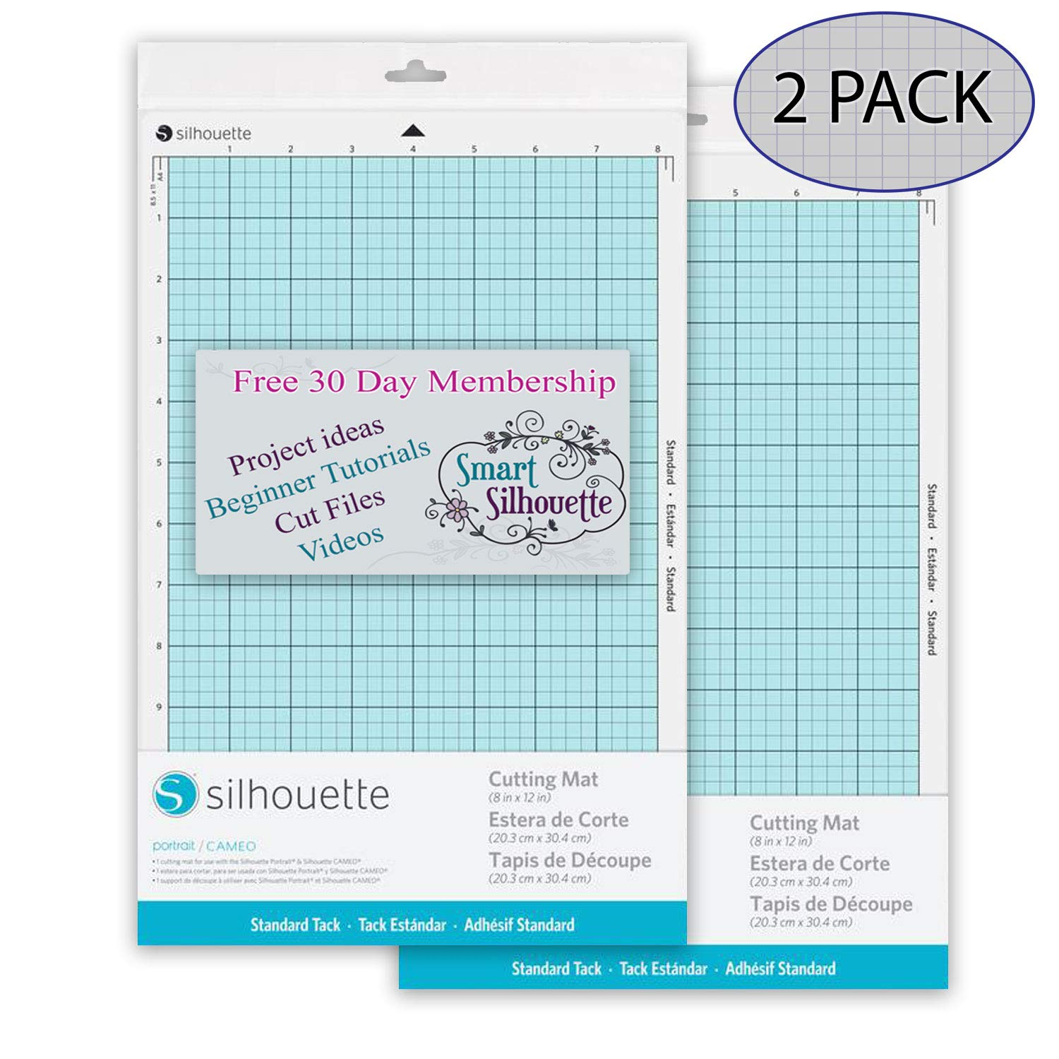 Silhouette America CUT-MAT-8-3T 2 Pack Portrait 2 Cutting Mat, with 30 Day Smart Silhouette Membership (1)