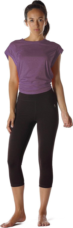 icyzone Damen Fitness-Trainings Kurzarm Shirt Rundhals Top unifarbenes Sport T-Shirt Lang